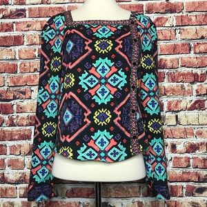 Rachel Roy Southwest Aztec Print square Neck Top